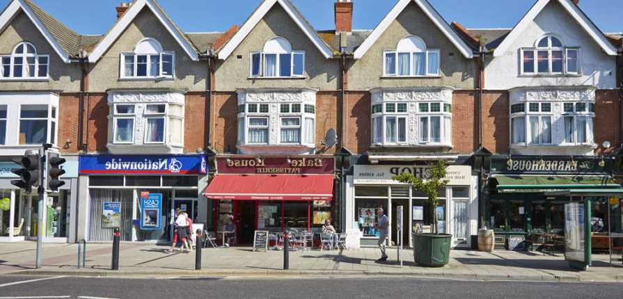 Southbourne high street with restaurants